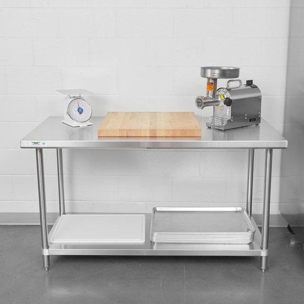"Regency Spec Line 30"" x 60"" 14 Gauge Stainless Steel Commercial Work Table with Undershelf Main Image 3"