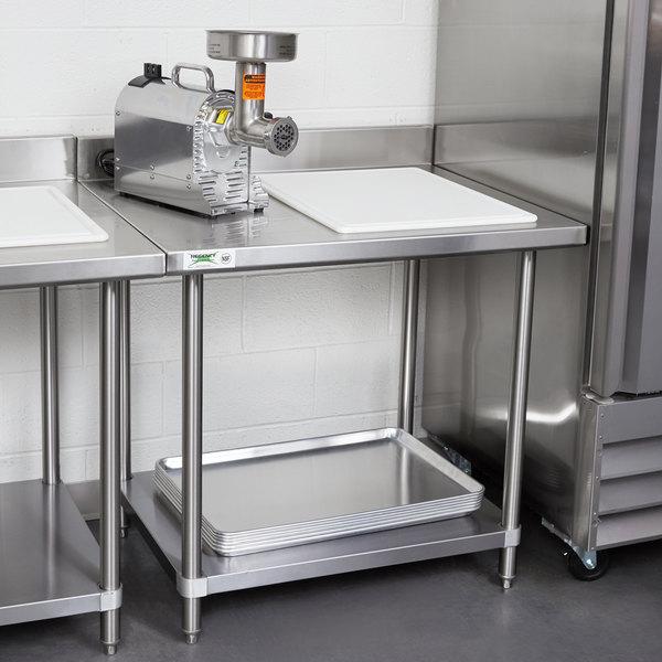 "Regency Spec Line 30"" x 36"" 14 Gauge Stainless Steel Commercial Work Table with 4"" Backsplash and Undershelf Main Image 3"