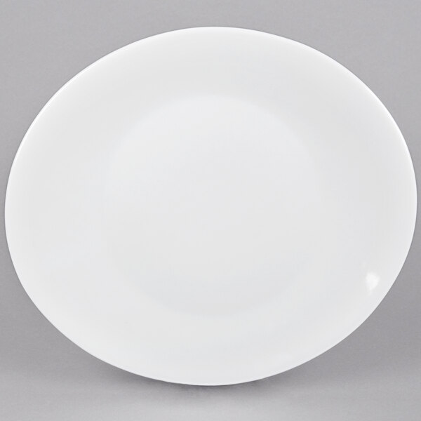 CAC COP-14 13 inch x 11 3/8 inch Coupe Bright White Oval Porcelain Platter - 12/Case