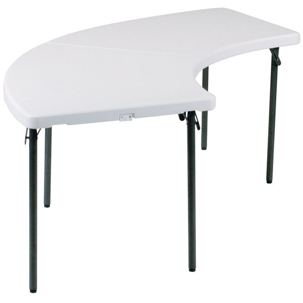 "Correll Serpentine Fold in Half Table, 30"" x 96"" Plastic, Granite Gray - FS3096S"