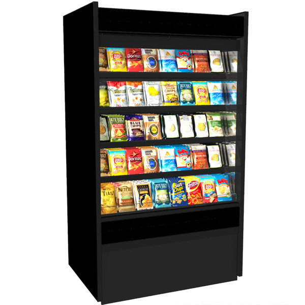 "Structural Concepts B3632D Oasis Black 36 5/8"" Non-Refrigerated Self-Service Display Case / Merchandiser - 110/120V"