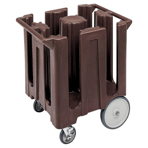 Cambro DC825131 Poker Chip Dark Brown Dish Dolly / Caddy with Vinyl Cover - 4 Column Main Image 1