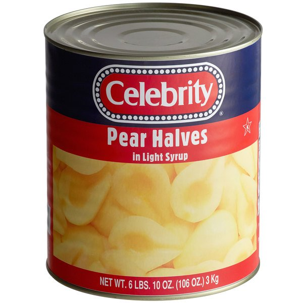 Celebrity #10 Can Pear Halves in Light Syrup - 6/Case Main Image 1