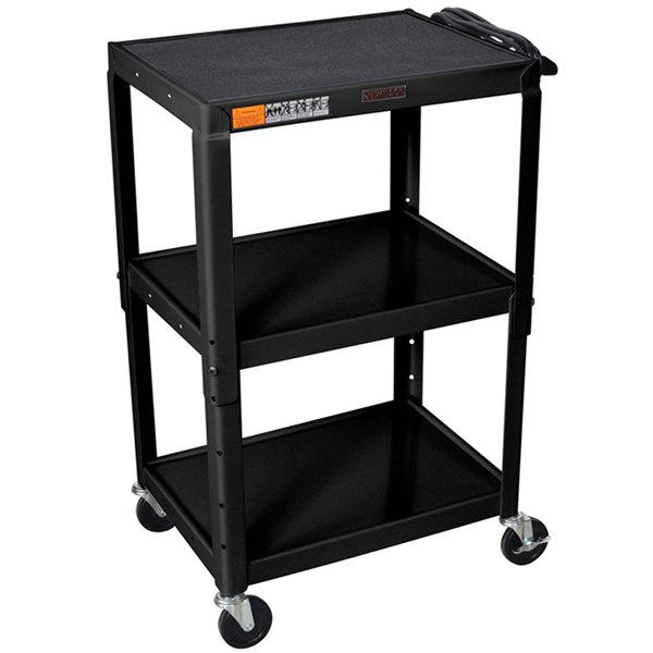 "Luxor W42AE Black Metal 3 Shelf A/V Utility Cart 18"" x 24"" x 42"" - Adjustable Height Main Image 1"