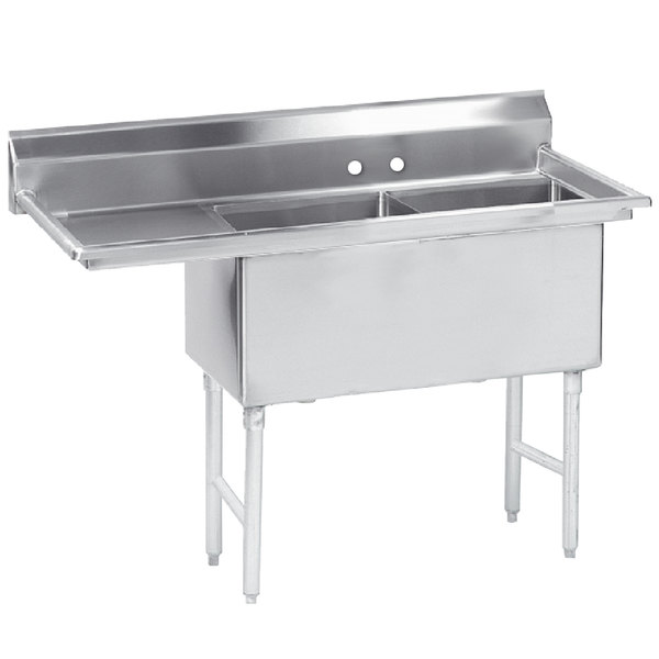 """Left Drainboard Advance Tabco FS-2-2424-24 Spec Line Fabricated Two Compartment Pot Sink with Drainboard - 74 1/2"""""""