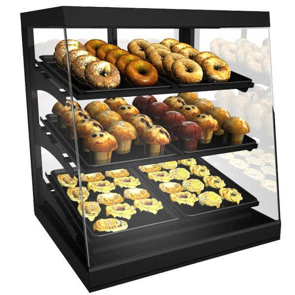 "Structural Concepts CGS2830 Impulse Black 28"" Countertop Bakery Display Case with Swinging Rear Doors Main Image 1"