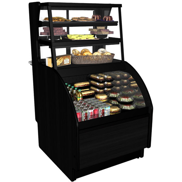 """Structural Concepts C3Z3667 Oasis Black 36 1/2"""" Horizontal Air Curtain Display Case with Dry Top Display"""