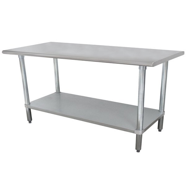 "Advance Tabco ELAG-366 36"" x 72"" 16 Gauge Stainless Steel Work Table with Galvanized Undershelf"