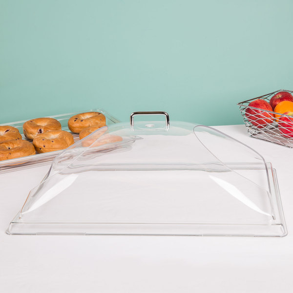 "Cambro DD1220BECW Camwear 12"" x 20"" Clear Dome Display Cover with 2 End Cuts"