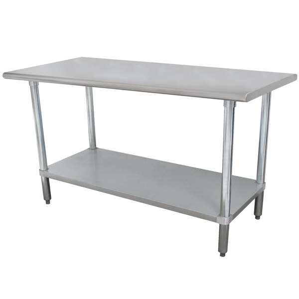 "Advance Tabco ELAG-365 36"" x 60"" 16 Gauge Stainless Steel Work Table with Galvanized Undershelf"