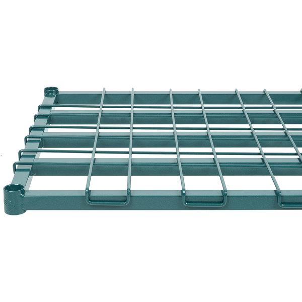 "Regency 24"" x 60"" Green Epoxy Heavy-Duty Dunnage Shelf with Wire Mat - 800 lb. Capacity"