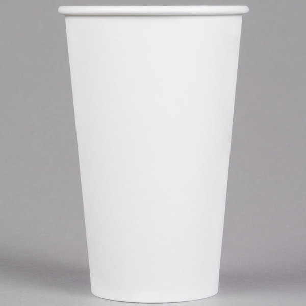Choice 16 oz. White Poly Paper Hot Cup - 1000/Case