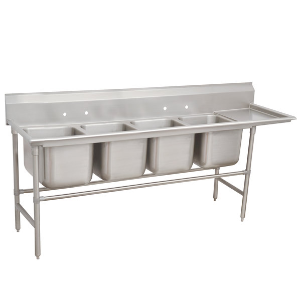 Right Drainboard Advance Tabco 94-84-80-36 Spec Line Four Compartment Pot Sink with One Drainboard - 129""