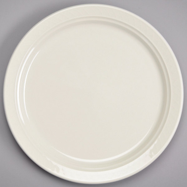 "Homer Laughlin by Steelite International HL3457000 Gothic 7 1/4"" Ivory (American White) China Plate - 36/Case Main Image 1"