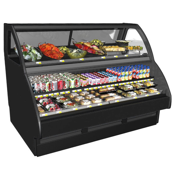 """Structural Concepts GCD656R Fusion Black 75 3/8"""" Horizontal Air Curtain Merchandiser with Cold Top Case"""