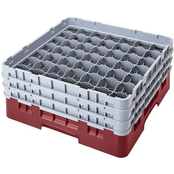 """Cambro 49S958163 Red Camrack Customizable 49 Compartment 10 1/8"""" Glass Rack"""