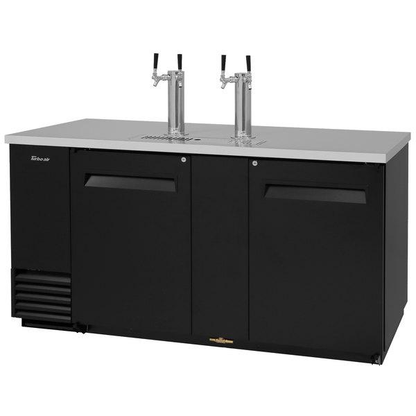 Turbo Air TBD-3SB (2) Double Tap Kegerator Beer Dispenser - Black, (3) 1/2 Keg Capacity