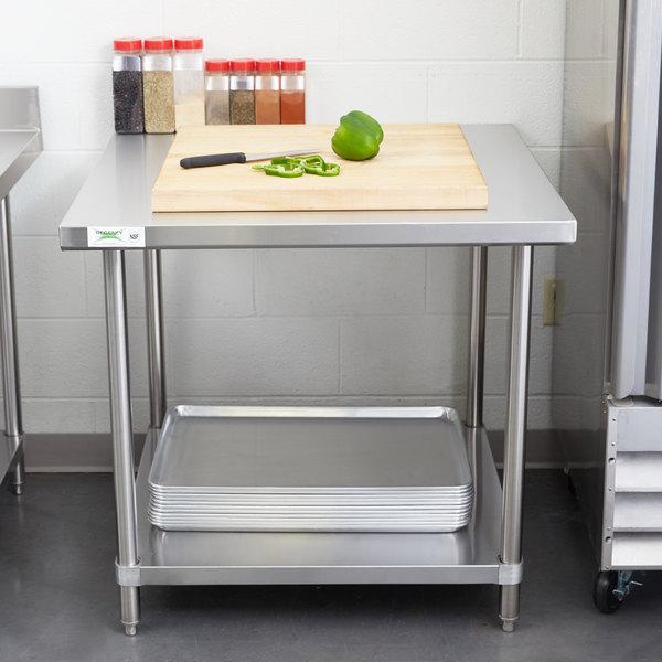 "Regency 36"" x 36"" 16 Gauge Stainless Steel Commercial Work Table with Undershelf Main Image 3"