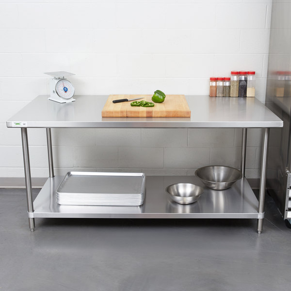 "Regency 36"" x 72"" 16 Gauge Stainless Steel Commercial Work Table with Undershelf Main Image 3"