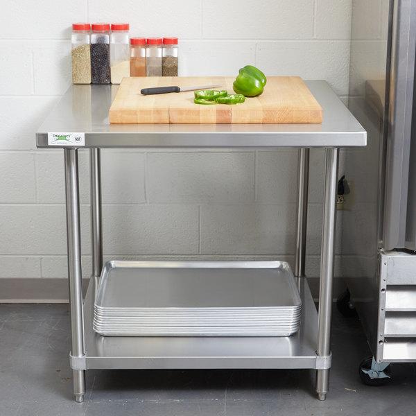 "Regency Spec Line 36"" x 36"" 14 Gauge Stainless Steel Commercial Work Table with Undershelf"