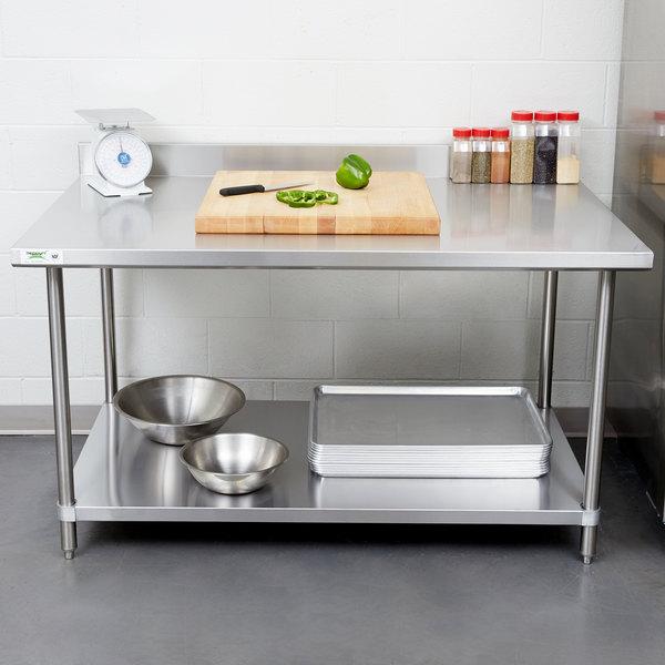 "Regency 36"" x 60"" 16 Gauge Stainless Steel Commercial Work Table with 4"" Backsplash and Undershelf"