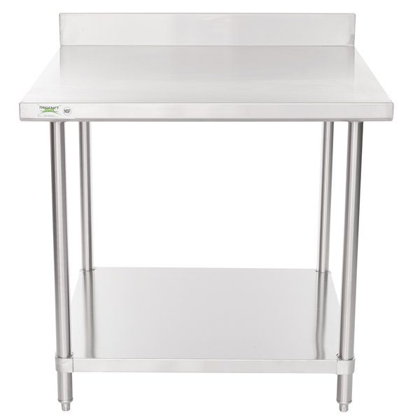 regency 36 x 36 16 gauge stainless steel commercial work table with 4 backsplash and undershelf