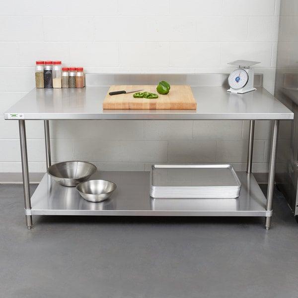 Regency X Gauge Stainless Steel Commercial Work Table - Stainless steel work table with backsplash