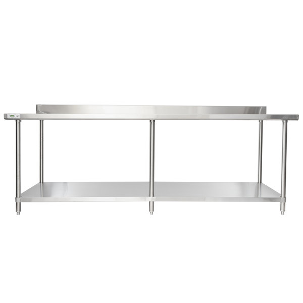regency 36 x 96 16 gauge stainless steel commercial work table with 4 backsplash and undershelf - Stainless Steel Work Table With Backsplash