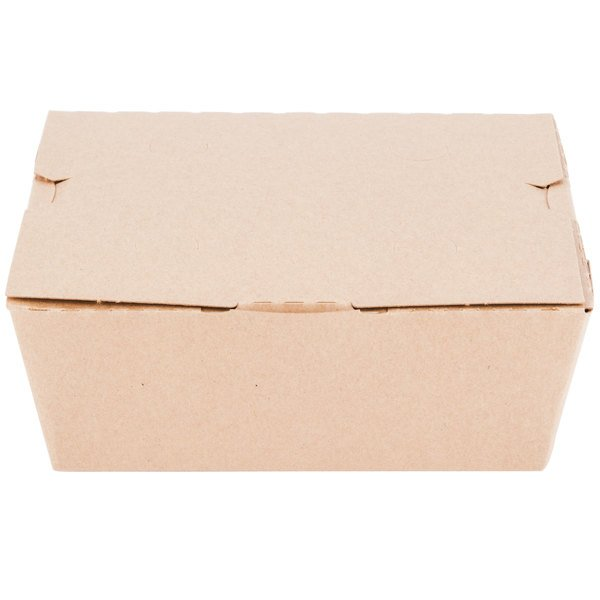 Customizable Microwavable Paper #8 Take-Out Box 6 inch x 4 3/4 inch x 2 1/2 inch - 300/Case