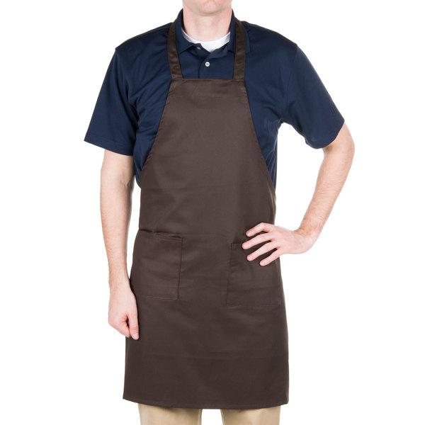 "Choice Brown Full Length Bib Apron with Pockets - 34"" x 32""W"