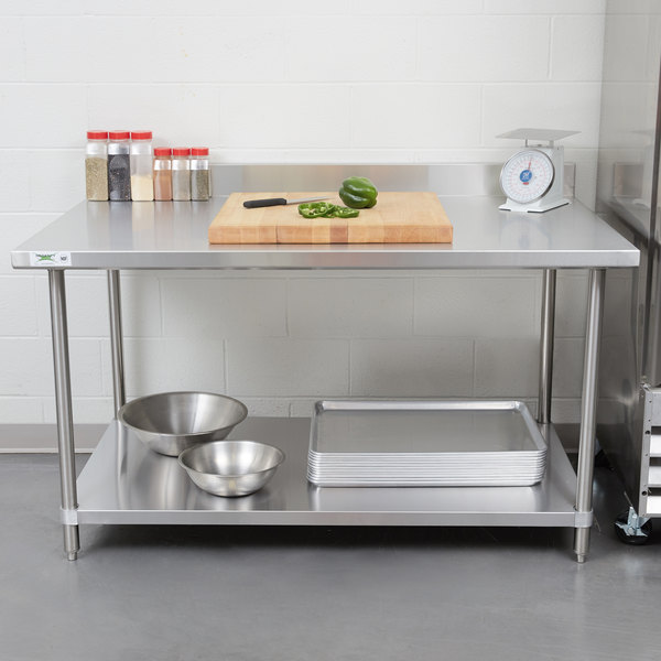 "Regency Spec Line 36"" x 60"" 14 Gauge Stainless Steel Commercial Work Table with 4"" Backsplash and Undershelf Main Image 3"