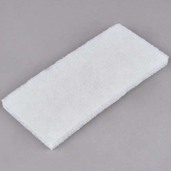 """3M 8440 Doodlebug 10"""" x 4 5/8"""" White Cleaning Pad - 5/Pack"""