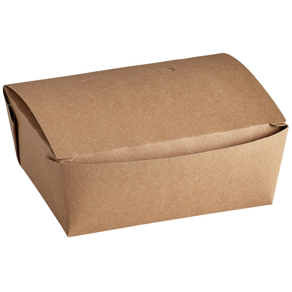 6 inch x 4 3/4 inch x 2 1/2 inch Kraft Paper #8 Take-Out Container  - 50/Pack