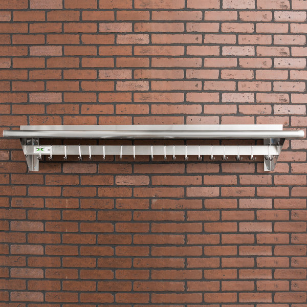 """Regency 12"""" x 60"""" Stainless Steel Wall Mounted Pot Rack with Shelf and 18 Galvanized Hooks"""