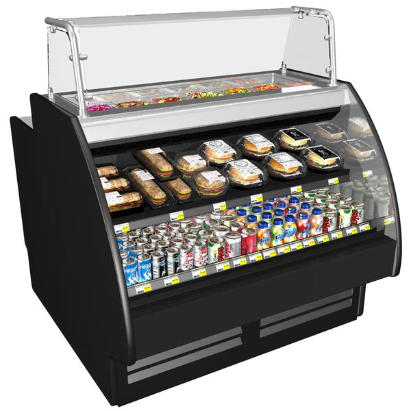 "Structural Concepts GP641RR Fusion 75 3/8"" Combination Salad Prep / Refrigerated Air Curtain Dual Service Merchandiser"