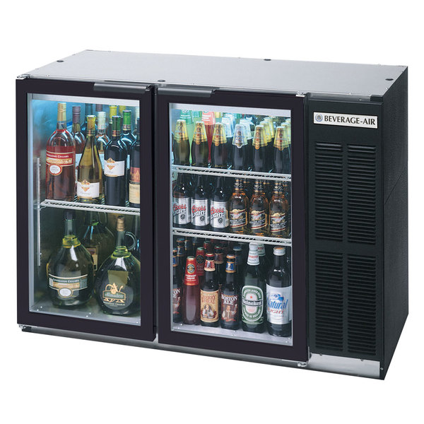 """Beverage-Air BB48GY-1-B-27-LED 48"""" Back Bar Refrigerator with 2 Glass Doors and Stainless Steel Top - 115V"""