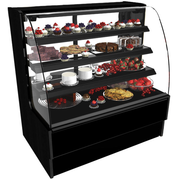 "Structural Concepts HMG7553 Harmony 75 1/8"" Black Curved Glass Dry Bakery Display Case"