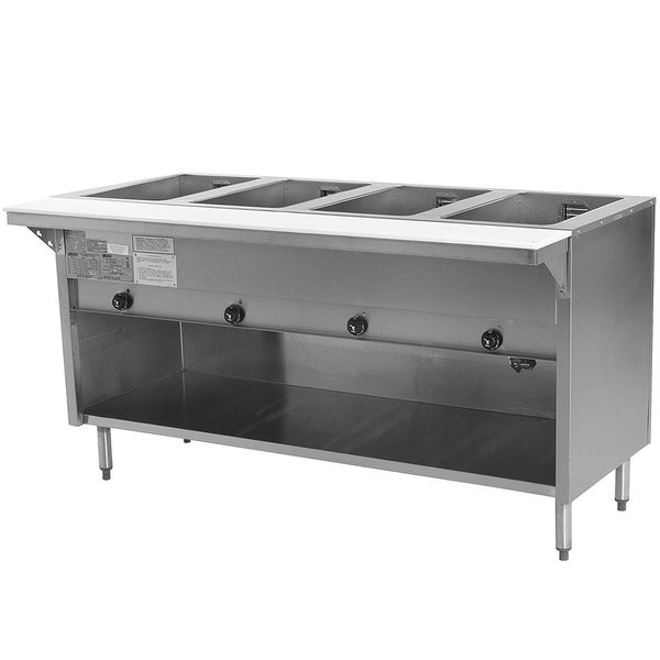 High Quality Eagle Group HT4OB Natural Gas Steam Table With Enclosed Base 14,000 BTU    Four Pan   Open Well