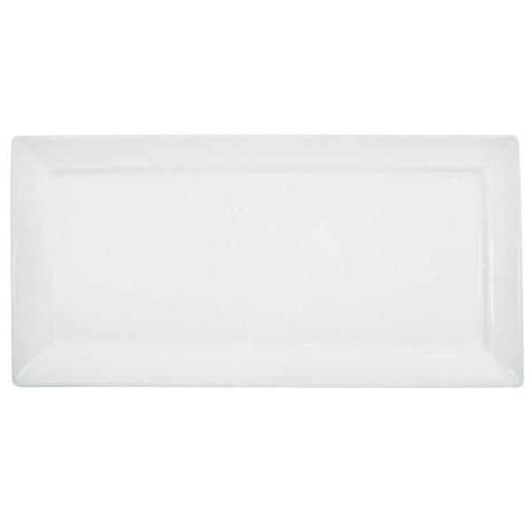 "CAC F-RP61 Paris French 16"" x 7"" Bone White Rectangular Porcelain Platter - 12/Case"