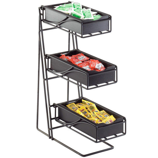 Cal-Mil 1235-13-96 Black 3-Tier Metal Flatware / Condiment Display with Midnight Bamboo Bins Main Image 2
