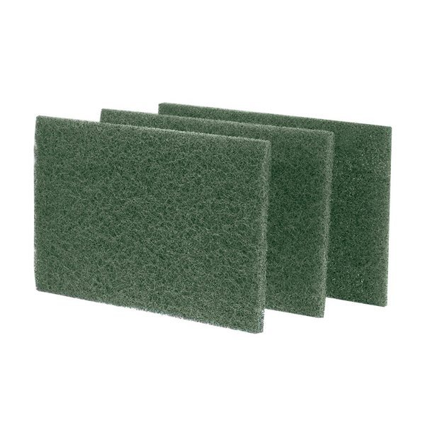 "Scrubble by ACS S86 9"" x 6"" Heavy-Duty Green Scouring Pad - 10/Pack"