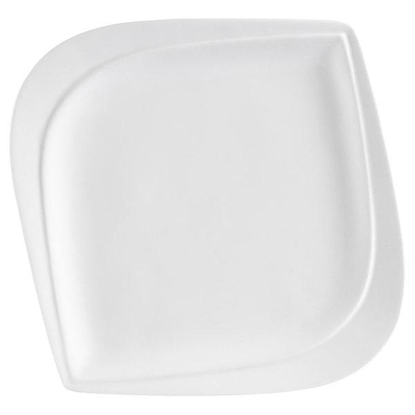 "CAC ASP-8 Aspen Tree Bone White Porcelain 8"" Plate - 36/Case"