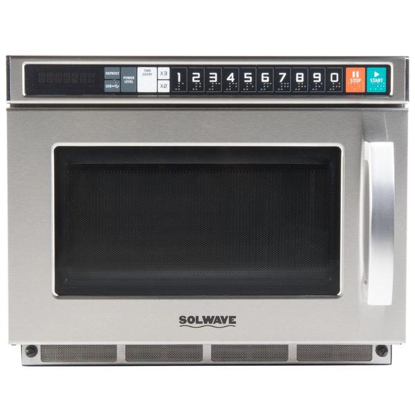 Solwave Space Saver Stainless Steel Heavy-Duty Commercial Microwave with USB Port - 208/240V, 2100W