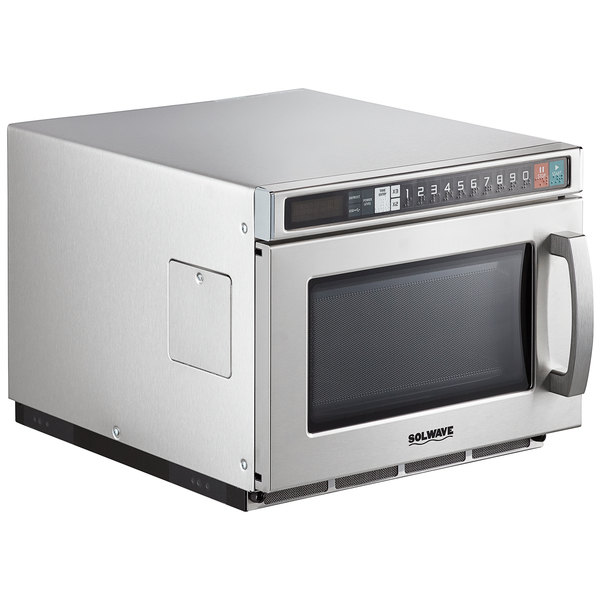 Solwave Space Saver Stainless Steel Heavy-Duty Commercial Microwave with USB Port - 120V, 1200W