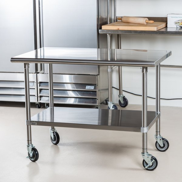 Advance Tabco MSLAGC X Gauge Stainless Steel Work - Stainless steel work table on casters