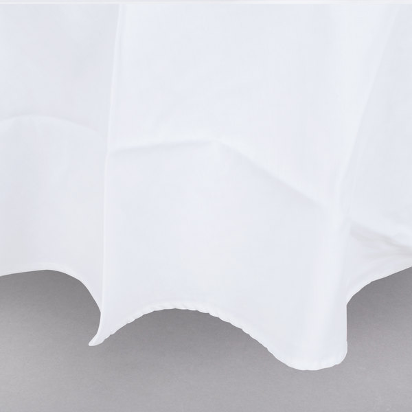 90 Round White Hemmed Poly Cotton Tablecloth