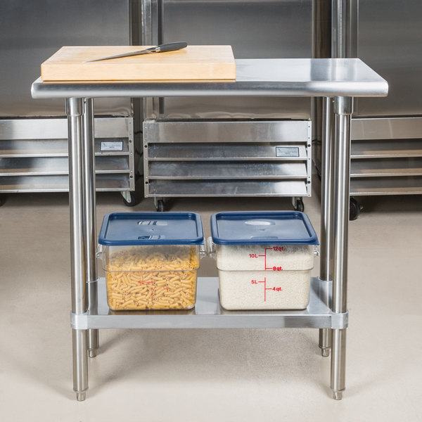"""Advance Tabco SLAG-180 18"""" x 30"""" 16 Gauge Stainless Steel Work Table with Stainless Steel Undershelf"""