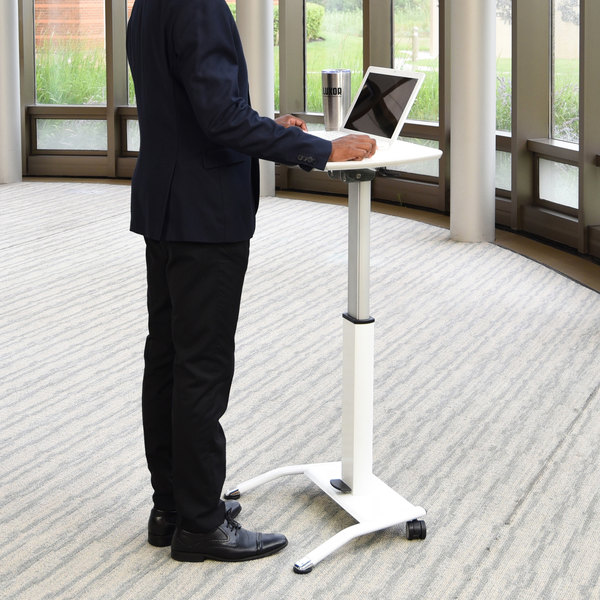 "Luxor LX-PNADJ-WH 25 1/2"" Pneumatic Adjustable Height Lectern Main Image 9"