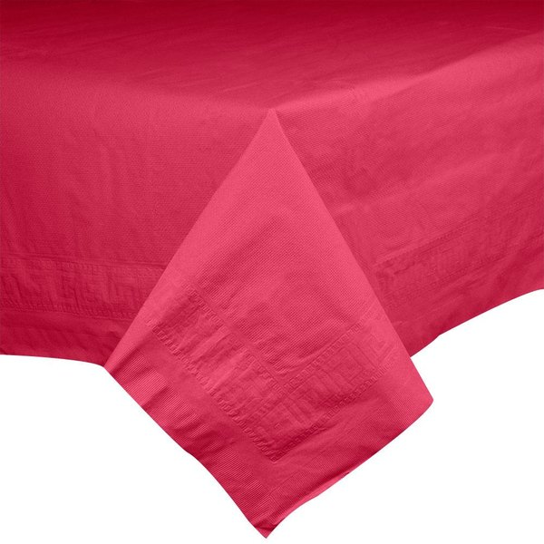 Hoffmaster 2205 72 inch x 72 inch Cellutex Tissue / Poly Red Paper Table Cover - 25/Case