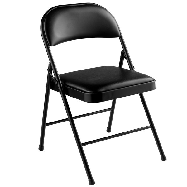 National Public Seating 950 Commercialine Black Metal Folding Chair With  Black Padded Vinyl Seat